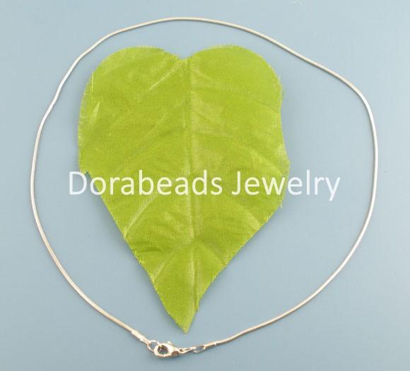 "10PCs Silver Tone Round Snake Chain Necklace 16"" Findings (B02983)8seasons(China (Mainland))"