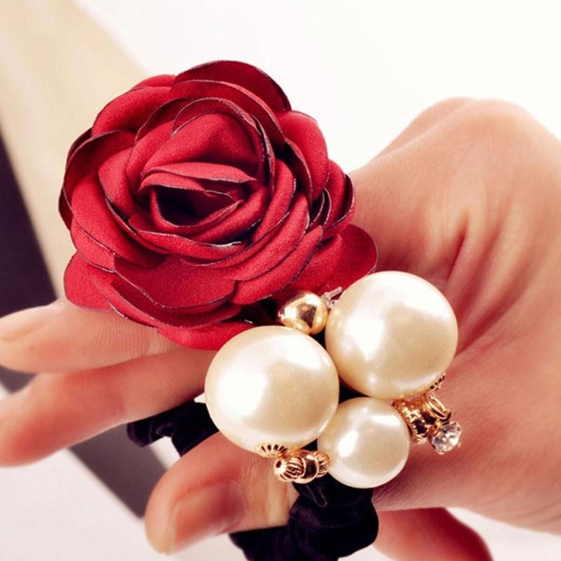 Fashion Pearl Flower Hair Bands for Women Girls Three Pearls Decor Elastic Ponytail Headband