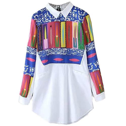 G1000-Sheinside-camicia-donna-Top-moda-nuovo-arrivo-Casual-con-revers-Multicolor