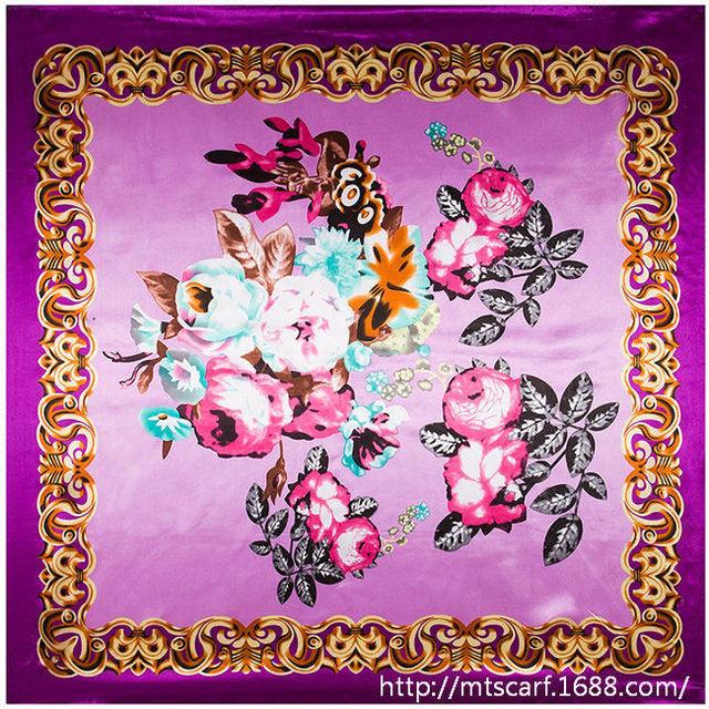 90 см * 90 см национальный чешский стиль цветочный окрашены цветок женщины шелкового атласа большой косынка