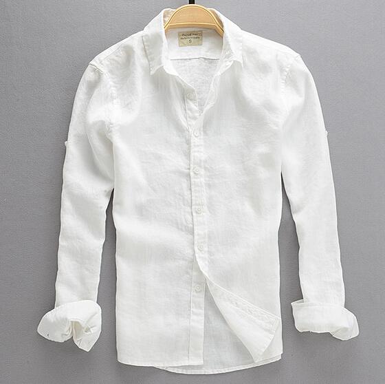 2016 Summer Fashion Male Casual Linen White font b Shirt b font font b Men b