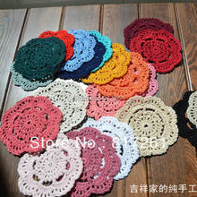 Free shipping wholesale 24 color 50 pic 10 cm round table mat crochet coasters zakka doilies cup pad props for lampshade(China (Mainland))