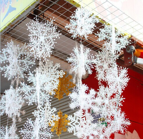 2 sets Christmas Party Decorations Supplies White Snow Snowflakes Hanging Ornaments One Set - Yiwu Jiusheng Super Store store