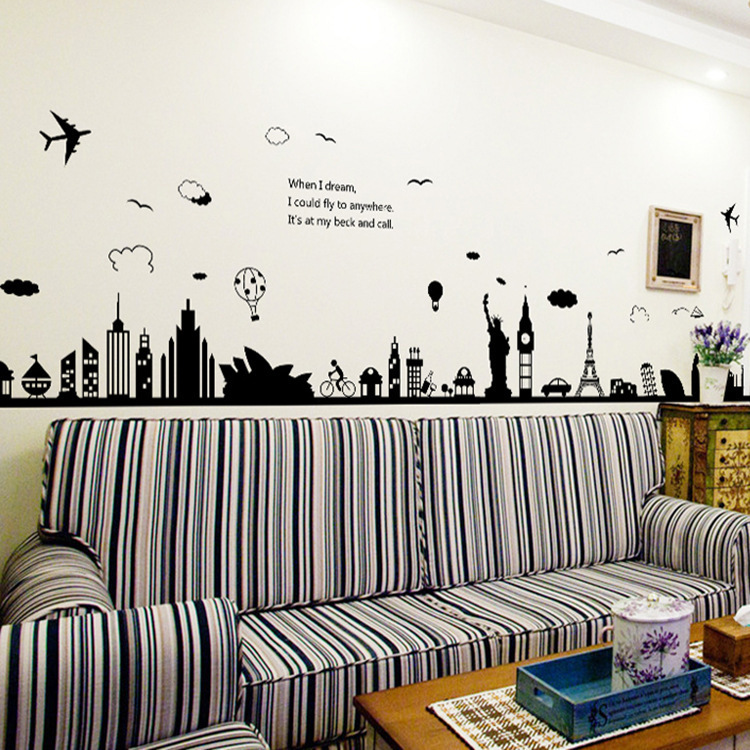 sydney greek cities large wall stickers home decor living room diy art