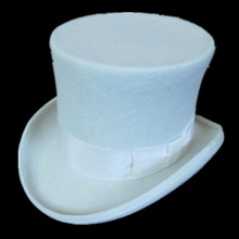 White 18.0cm(7.1inch)  Mad Hatter Top Hat , Victorian Traditional Wool Fedoras High Hat / Cylinder Hat, Chimney Pot Hat