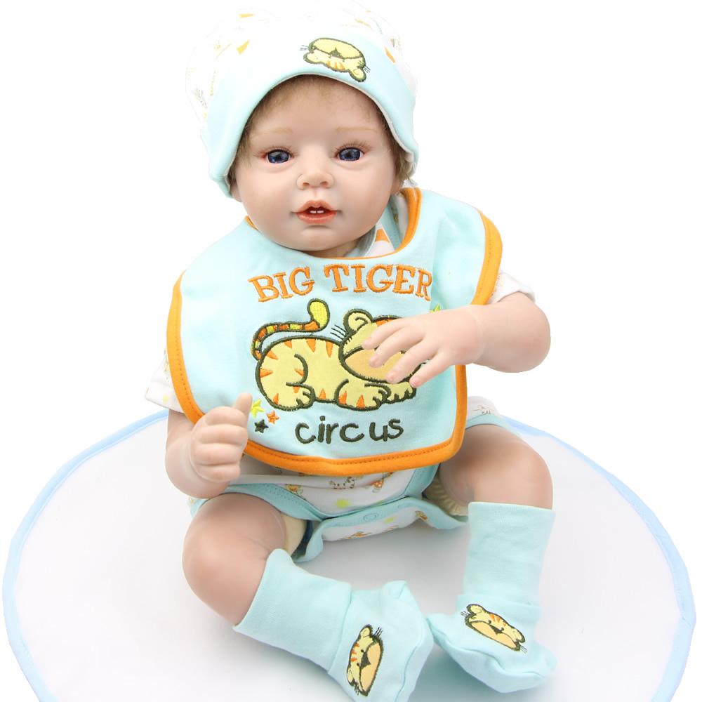"22""/55 cm Handmade Soft Silicone Reborn Babies Doll Fashion Newborn Babies Boy That Look Real Kids Birthday Gift(China (Mainland))"