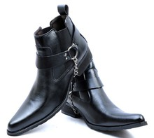 2013 New Arrival Men's Fashion Male Pointed Toe Boots personality Punk Boots Motorcycle Ankle Boots Big size 44(China (Mainland))