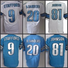 Best quality jersey Men's 9 Matthew Stafford 20 Barry Sanders 81 Calvin Johnson 15 Golden Tate Eric Ebron Elite Football Jersey(China (Mainland))
