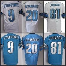 Best quality jersey Men's 9 Matthew Stafford 20 Barry Sanders 81 Calvin Johnson 15 Golden Tate Eric Ebron Elite Football Jersey(China (Mainland))