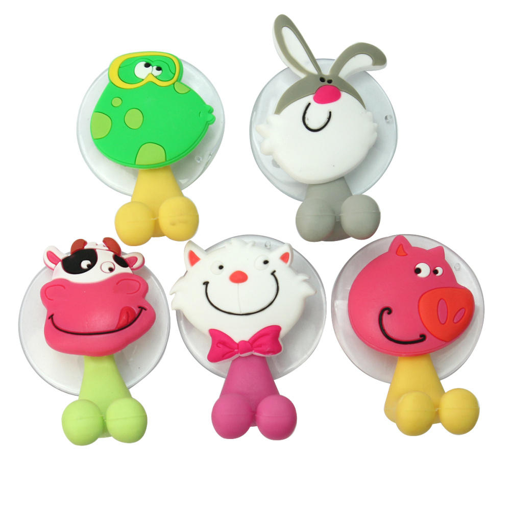 5 Cute Cartoon Animal Sucker Home Bathroom Bath Toothbrush Holder Suction Hooks(China (Mainland))