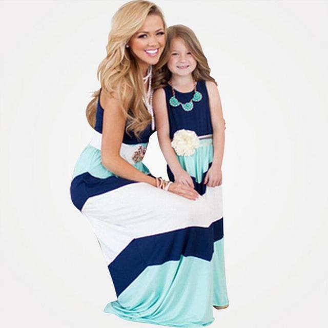 Семья Взгляд 2016 семья соответствия мать дочь платье одежда полосатый мама и дочь ...