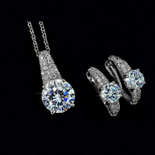 Wholesale Factory Price New Sterling 925 Silver Jewelry Set Crystal Jewelry Set Necklace and Earrings ewtw