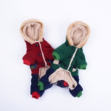 Teddy clothes wholesale Warm Fleece Dogs Clothes Cute Jumpsuit Hooded Four Legs Pet Clothing thick winter dog clothes(China (Mainland))