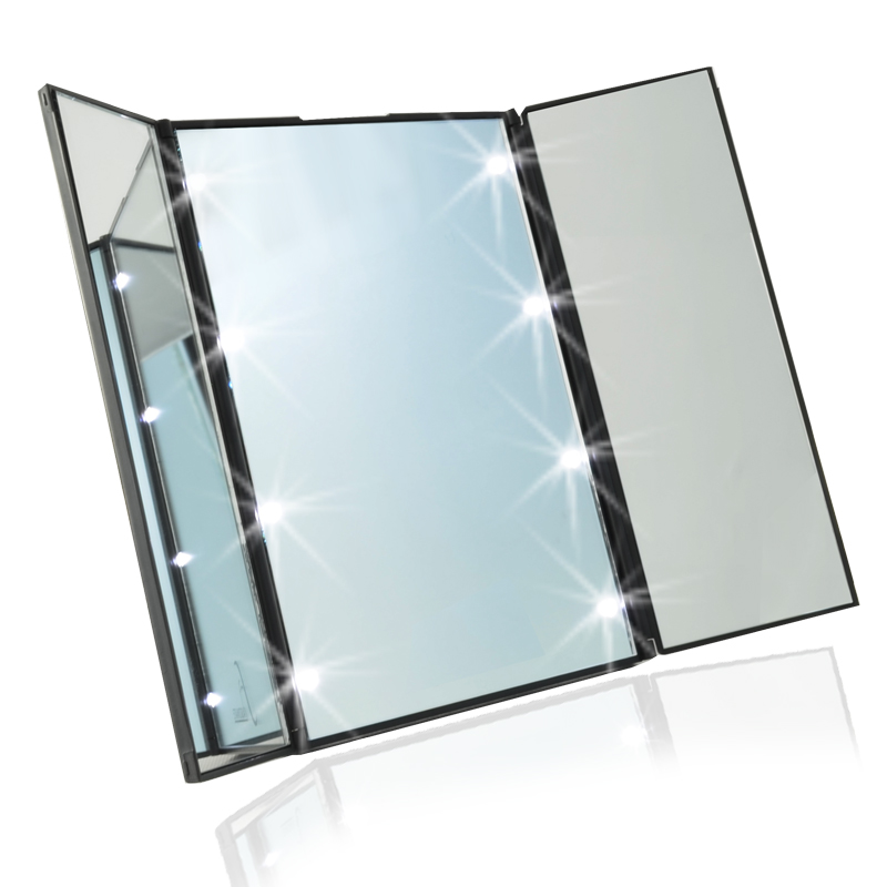 Travel mirror compact pocket mirror tri fold lighted led for Miroir led ikea