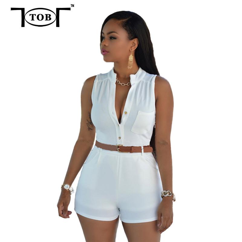 2016 Summer Women Bodycon Sleeveless White Jumpsuit Plus ...