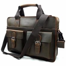 Brand Retro Crazy Horse Cowhide Genuine Leather Men's Briefcase Handbag Crossbody Shoulder Business Zipper Laptop Messenger Bags(China (Mainland))