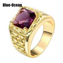 Fashion Cool Men Jewelry 24K Gold Plated Ring Austrian Crystal Stone Men Ring Gift for Man bague homme anel masculino(China (Mainland))