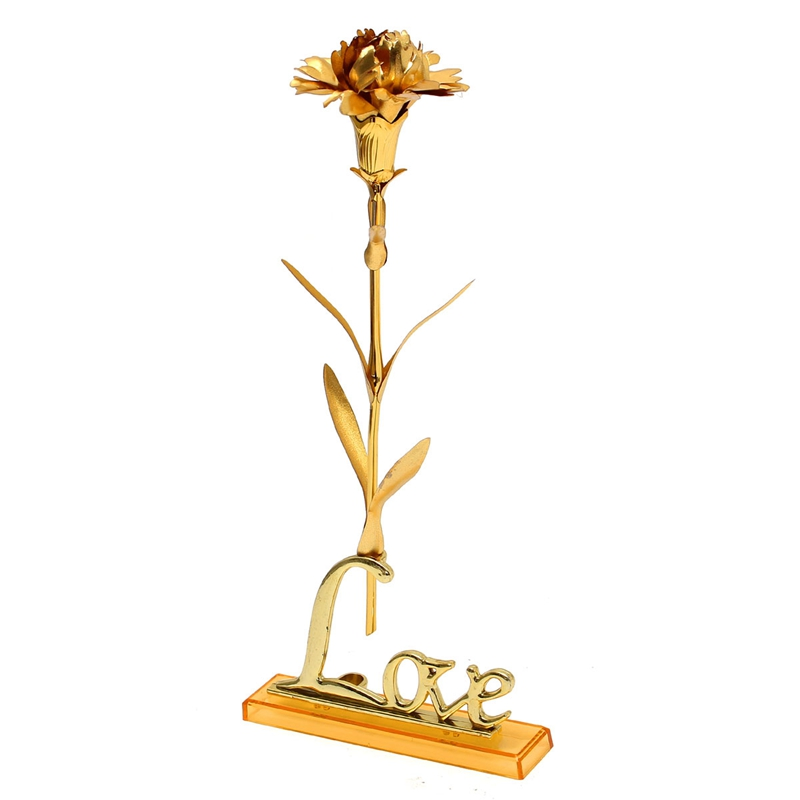 Golden Artificial Carnations 24K Gold Foil Plated Flower Jewelry Mother's Day Craft Birthday Valentines Wedding Gift With Box(China (Mainland))