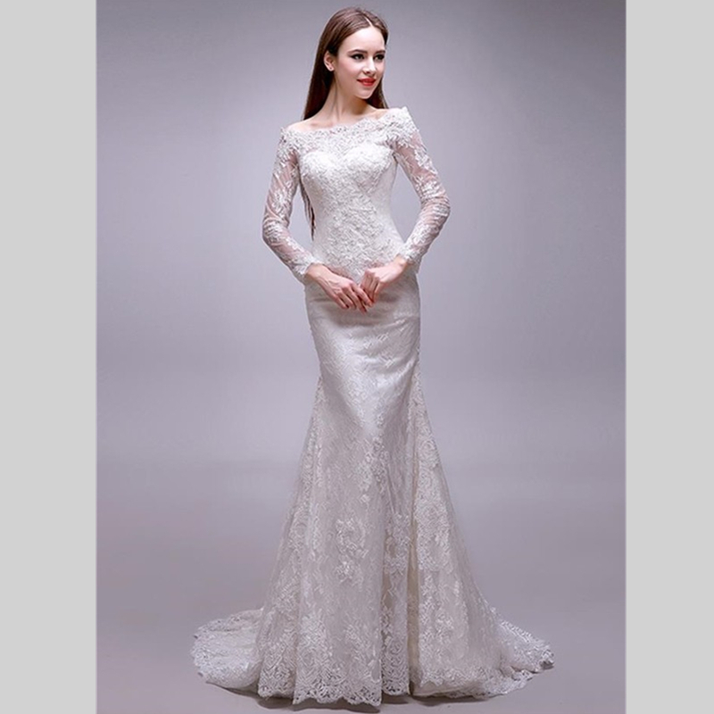 2015 Modest Wedding Dresses With Long Sleeves Appliques Lace Wedding Gowns Fa