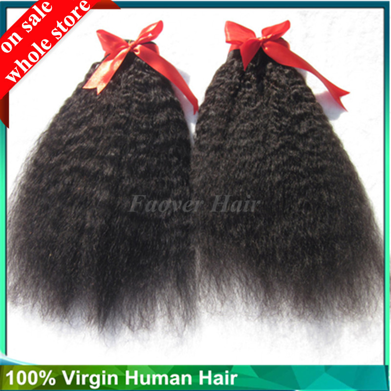 Kinky Straight Hair Brazilian Virgin Hair Straight Coarse Yaki 2pcs Human Hair Weaves Italian Yaki Bundles Mixed Length
