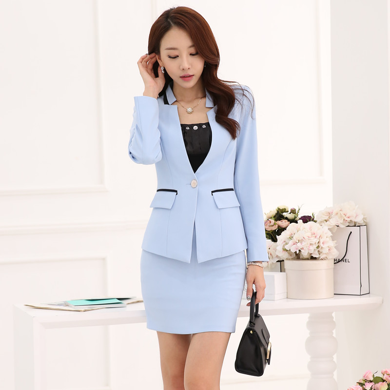 Innovative Autumn Women Working Uniforms Jacket With Skirt Suit New 2015 Long Sleeve Formal Office Slim ...