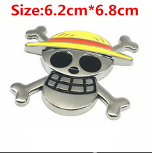 Cartoon One Piece Luffy new 3D stereo metal modified car stickers affixed to the body casual labeling