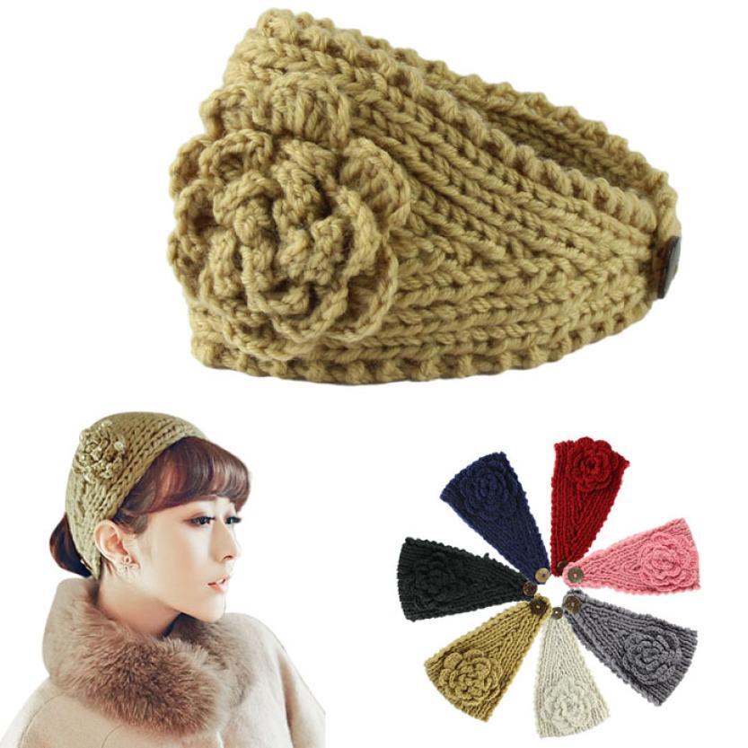 SIF Fashion Women Crochet Headband Knit Hairband Flower Winter Ear Warmer Head wrap DEC 17(China (Mainland))