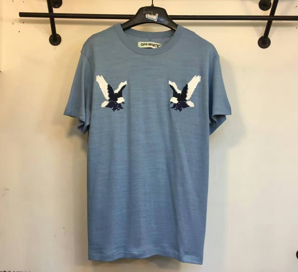 authentic Off-White 2016 Eagle embroidered cotton jersey T-Shirt tshirt tee off white virgil abloh(China (Mainland))