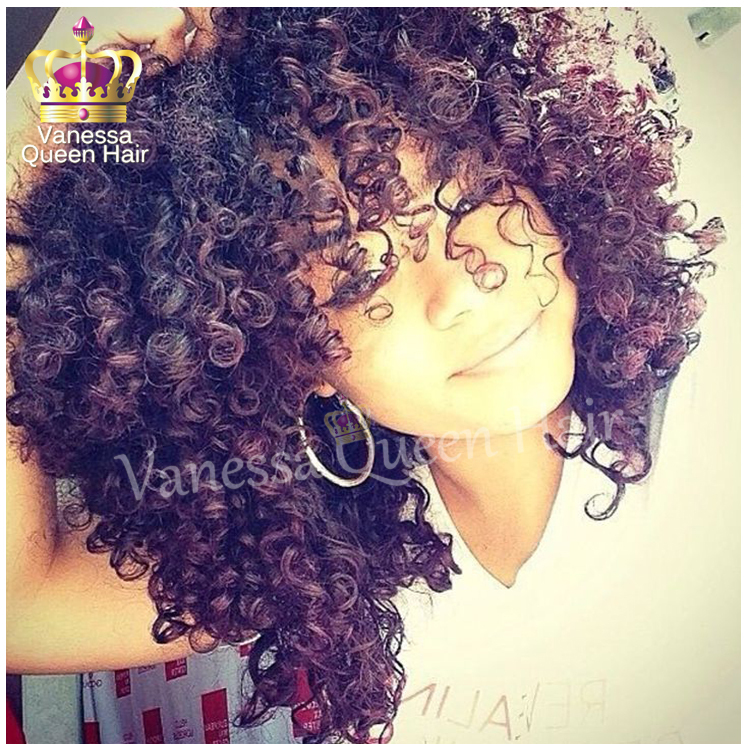 New black / brown color ombre lace front wigs for black women synthetic kinky curl hair with bangs instock free shipping<br><br>Aliexpress