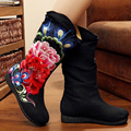 Autumn Women s Winter Boots 2016 Chiness Style Canvas Peony Embroidery Round toe Slip On Mid