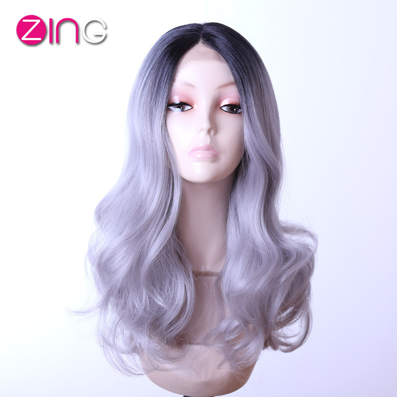 Grey Ombre Hair Wavy Long Synthetic Hair Wigs Heat Resistant Hair For Women Pelucas Pelo Natural Black And Grey Wigs China Zing