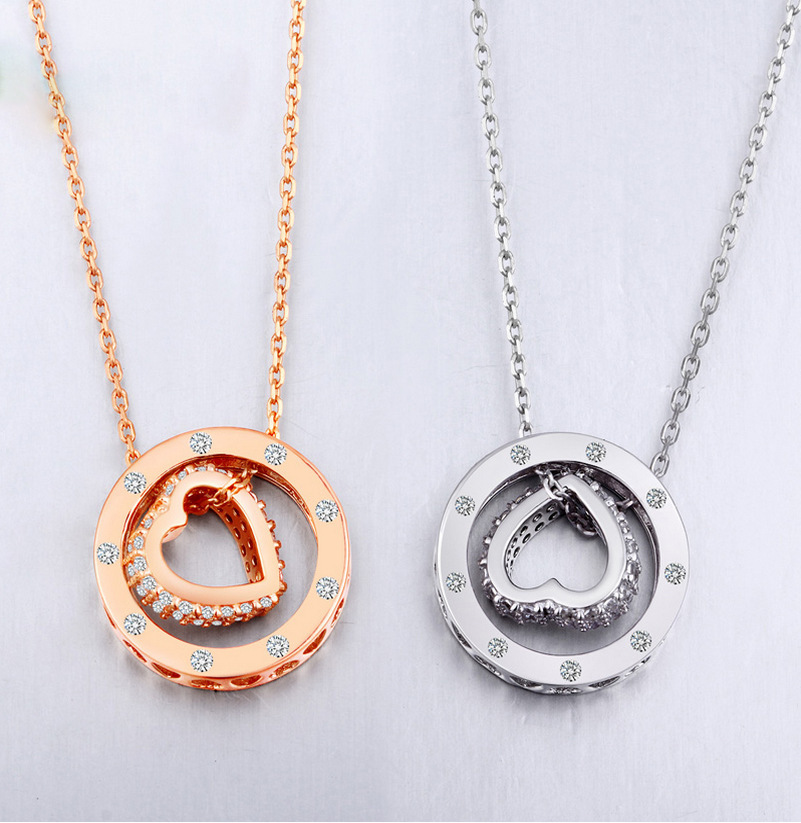 High Quality Fashion Heart Round Circles Rose Gold Pendant Design 925 Sterling Silver Women Necklace Pendant Girl Jewelry(China (Mainland))