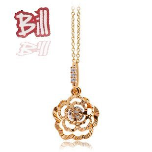 Free Shipping Wholesale Lots Romance Camellia Flower Lover Rhinestone Necklace 18K Gold Plated Pendant Necklace Jewelry