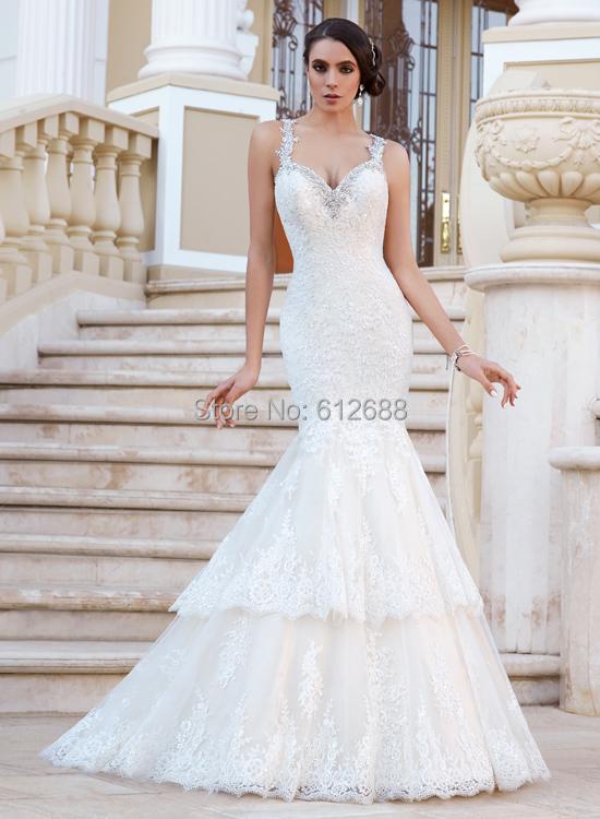 Mermaid Wedding Dress With Straps : Aliexpress buy mermaid wedding dress v neck