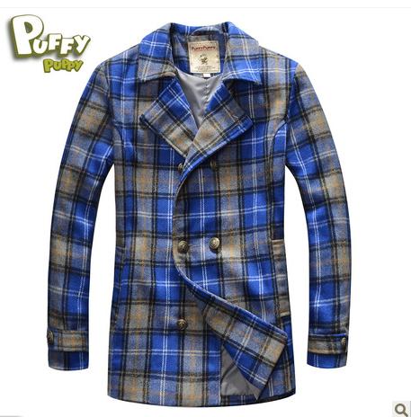 New Freeshipping Autumn winter Blue red Plaid Children Child Boy Kids fleece woolen long sleeve Coat jacket outwear PEDS08P05