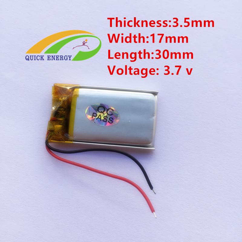 micro 3.7v battery 351730 lipo batteries 3.7v 100mah li polymer li ion lithum battery CL(China (Mainland))