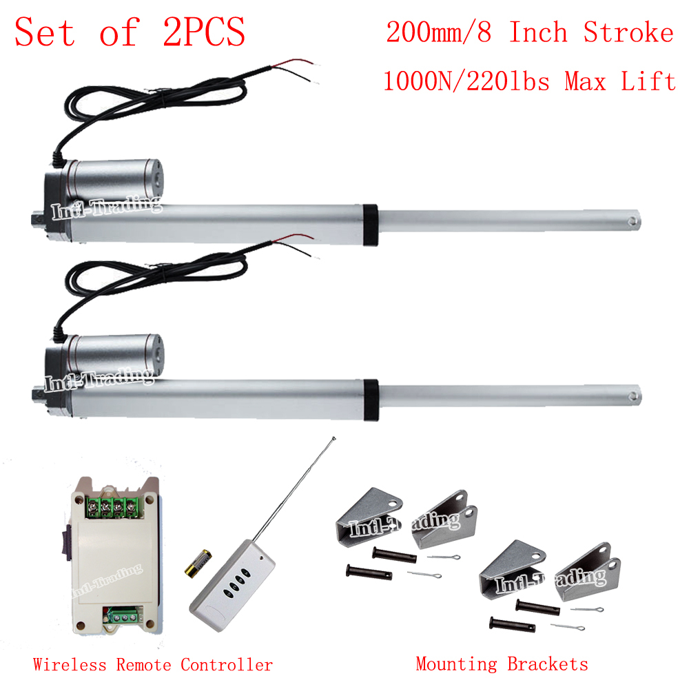 "New Arrivial! Wireless Control System Kits-DC 12V 200mm 8"" Stroke Linear Actuators W/ Remote Controller for TV Lifts Door Open(China (Mainland))"