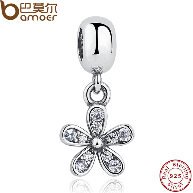 Classic Sterling 925 Silver Dazzling Daisy, Clear CZ For DIY Charms And Pendant Fit ...
