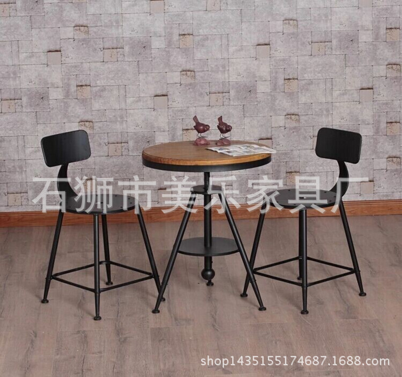 American country wrought iron cafe tables and chairs can lift Creative wood coffee table(China (Mainland))