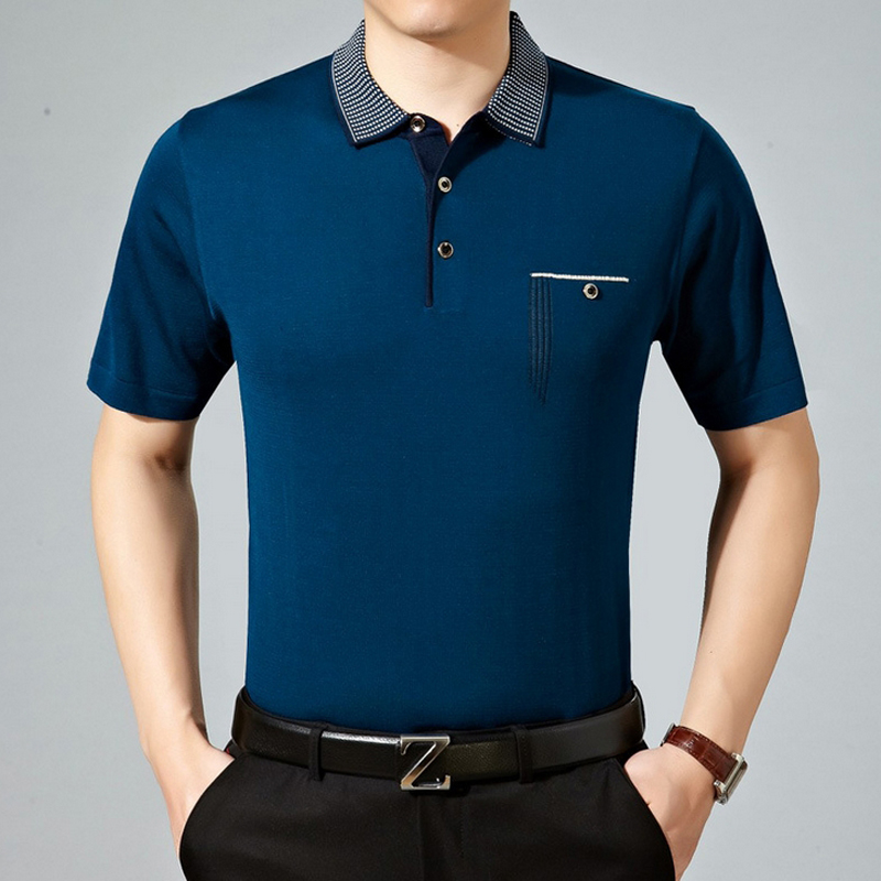 2016 New Fashion Mens Polo Shirt solid 100% silk Slim Fit Short Sleeve Polos homme Clothing Summer business style polo shirt(China (Mainland))