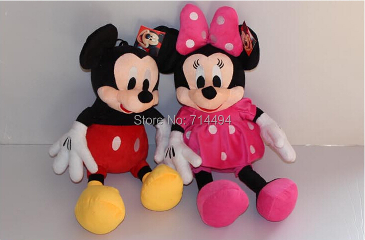 2pcs/lot 28cm Minnie and Mickey Mouse Super Plush Doll Stuffed Animals Plush Toys For Children's Gift(China (Mainland))