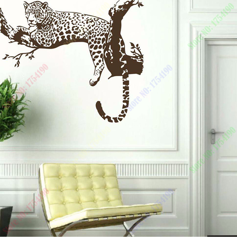 On sale new large leopard tiger tree removable vinyl wall for Animal wall mural