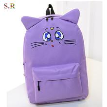 Harajuku Style Backpack Sailor Moon Canvas Backpack Cute Cat Shoulder Bag School Bags For Teenager Girls Book Bag Rucksack CB190(China (Mainland))