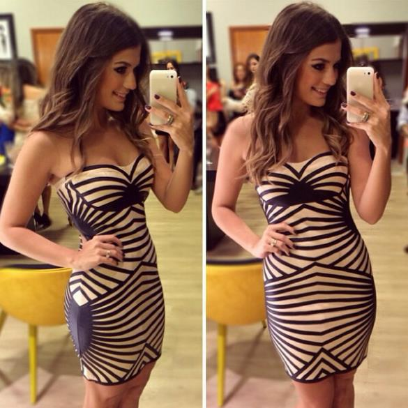 Personal Sexy9779 # 2015 AliExpress Hot explosion models ladies dress stripe stitching Tee Dress European and American fashion c(China (Mainland))