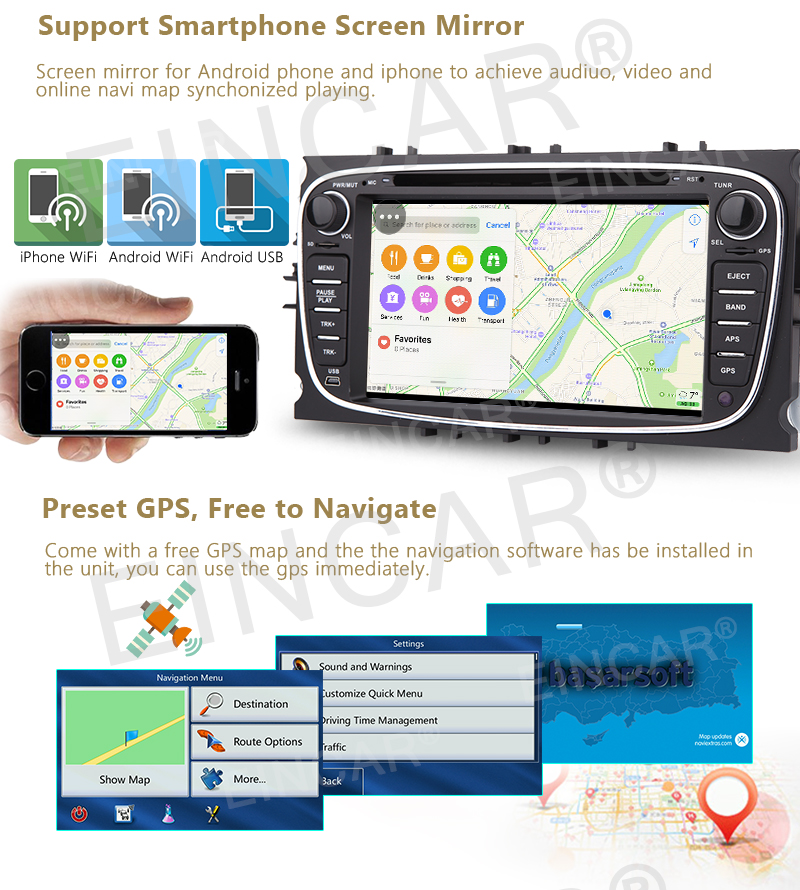 Android 6.0 7″ Car GPS Navigation Stereo Autoradio Wifi 2Din DVD Player In console Autoradio Mirror Link/OBD2/SWC for Ford+Cam