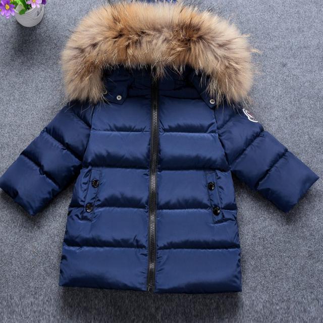 Дети Вниз Куртки Зимние Теплые Пальто Проложенный Мальчики Меховым Воротником Baby Дети 2-10 лет Детский Верхняя Одежда Пальто Марка одежда