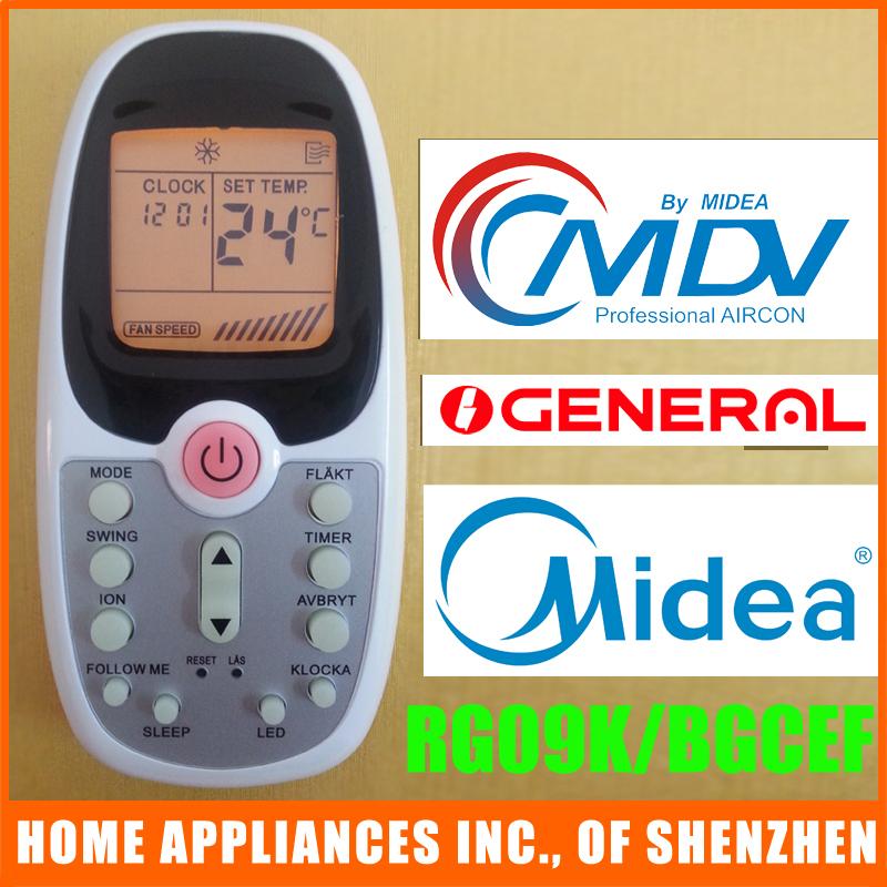 Midea MDV General Air Conditioner Remote Control RG09K/BGCEF Split Portable Air Conditioner Parts(China (Mainland))