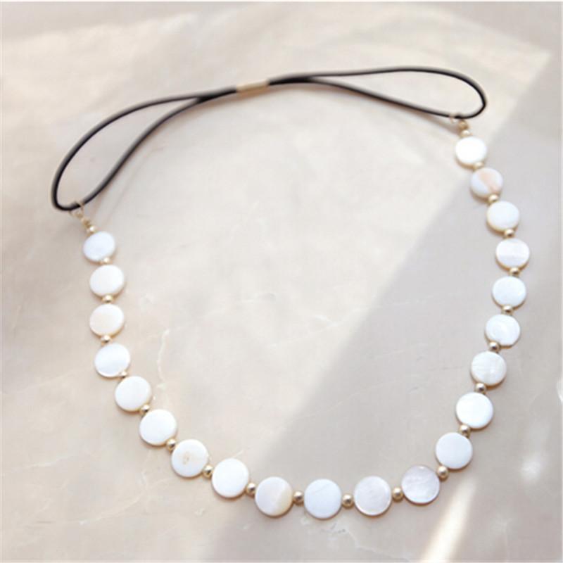 11.11 Promotion Bohemia Women Bride Headbands White Shell Elastics Headband Hairstyle Accessories Princess Wedding Party Jewelry(China (Mainland))