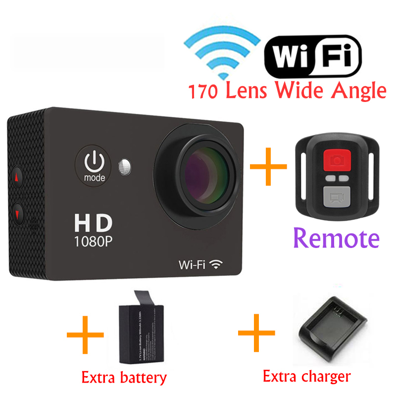 Remote Control Wifi Mini Camcorders Action Camera Full 1080P 30M Waterproof Sport Cameras 170 Lens Wide Angle +Battery +charger(China (Mainland))