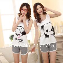 2015 summer style cartoon pajamas pajamas for a women short sleeve modal woman summer Pajamas 3